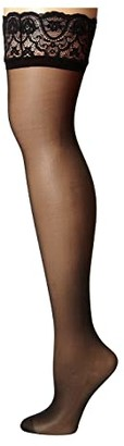 Commando Up All Night Sexy Sheer with Lace HTH06 (Black) Women's Thigh High Socks Shoes