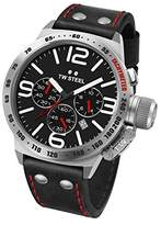 TW Steel Canteen Leather Unisex Quartz Watch with Black Dial Chronograph Display and Black Leather Strap CS10