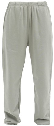 LES TIEN Brushed-back Cotton Track Pants - Light Grey