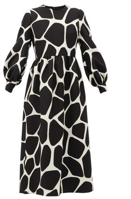 Valentino 1966 Giraffe-print Wool-blend Dress - Black White