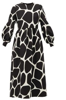 Valentino Giraffe-print Wool-blend Dress - Womens - Black White