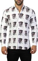 Maceoo Fibonacci Skull America Print Slim Fit Long Sleeve Woven