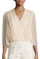 Alice + Olivia Axel Cross Front Silk Top
