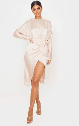 PrettyLittleThing Champagne Satin Wrap Skirt Backless Midi Dress