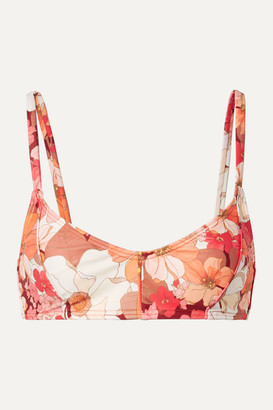 Peony - Net Sustain Floral-print Bikini Top - Red