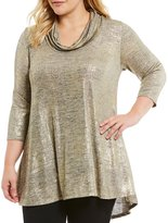 Chelsea & Theodore Plus Cowl Neck Tunic