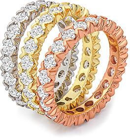 Swarovski Golden Moon Women's Rings Tri - Tri-Tone Eternity Ring Set With Crystals
