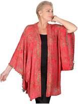 Lotustraders Jacket Kimono Pom Poms Lapels Batik Artsy W204