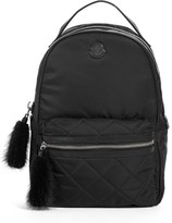 Moncler 'Georgette' Genuine Rabbit Trim Backpack - Black