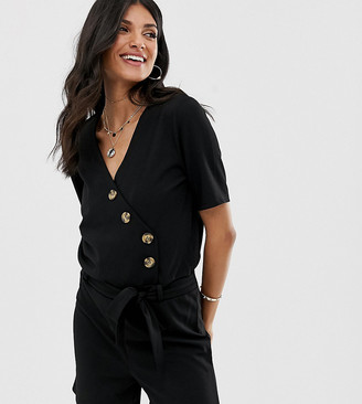 Y.A.S Tall Bahia spotted button down playsuit-Black