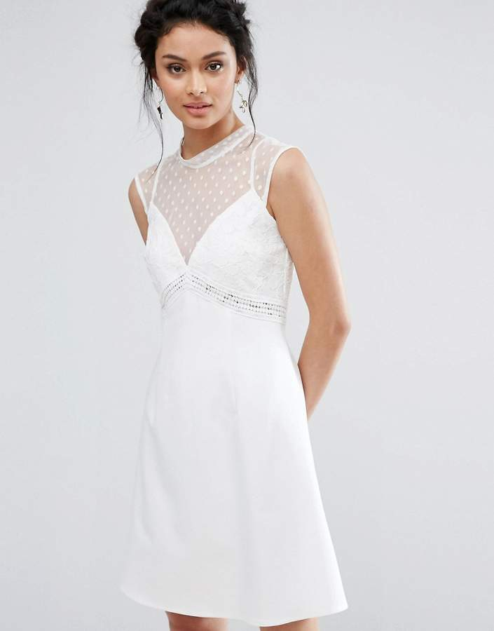 Elise Ryan A-Line Dress With Spot Mesh And Lace Bodice