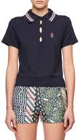 Carven Shiny Ribbed Jersey Embroidered Knit Collar Polo