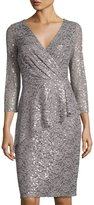 Marina Short Faux-Wrap Sequined Lace Dress, Silver