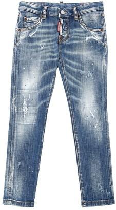 DSQUARED2 Destroyed & Painted Cotton Denim Jeans