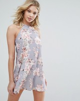 Oh My Love Halterneck Swing Dress In Floral Print