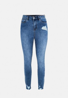 Missguided Petite Blue Mid Wash Distressed Skinny Jeans