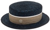 Maison Michel Augusta Straw Boater Hat - Womens - Navy