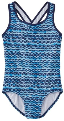 L.L. Bean Girls' Tide Surfer Swimsuit, One-Piece Print