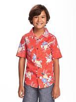 Old Navy Tropical-Print Slub-Weave Shirt for Boys