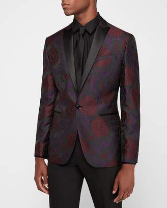 Express Slim Burgundy & Purple Printed Tuxedo Jacket