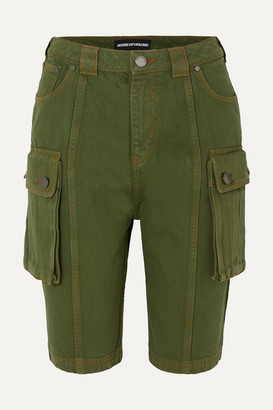 House of Holland Denim Cargo Shorts - Army green