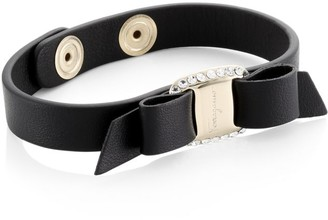 Salvatore Ferragamo Varaster Crystal Bow Leather Bracelet