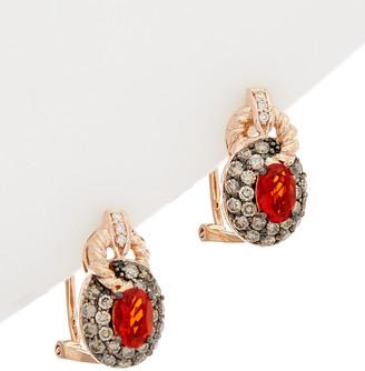 LeVian Le Vian 14K Rose Gold 1.19 Ct. Tw. White & Chocolate Diamond & Opal Earrings