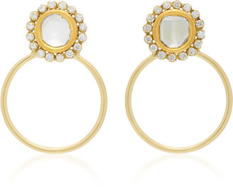 Amrapali Kundan 18K Gold and Diamond Hoop Earrings