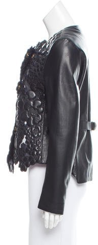 Giorgio Armani Floral Leather-Accented Jacket