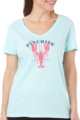 Caribbean Joe Women's Graphic Lobster Nautical Print V Neck Short Sleeve Tee