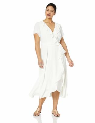 Gabby Skye Women's Plus Size Short Sleeve Stripe Ruffled Dress