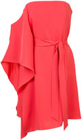 Halston asymmetric strapless dress - women - Polyester - 2