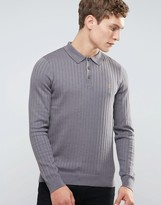 Farah Slim Long Sleeve Rib Knit Polo in Gray