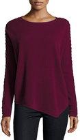 Neiman Marcus Cashmere Asymmetric Braided-Sleeve Sweater, Burgundy