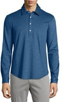 Loro Piana Long-Sleeve Pique Polo Shirt, Dark Blue