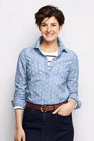 Classic Women's Petite Chambray Shirt-Winter Violet Pinstripe