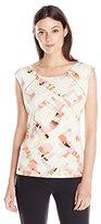 Calvin Klein Women's S/L Top W/ Zipper Pulls