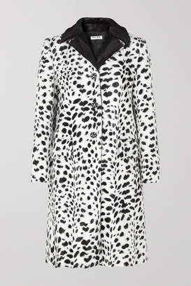 Miu Miu Crystal-embellished Animal-print Faux Fur Coat - Ivory