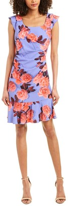 Adrianna Papell Women's Photoreal Floral Flounce Dress