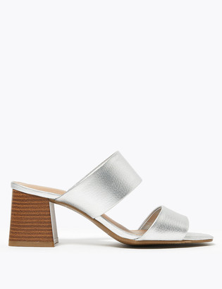 Marks and Spencer Metallic Two Band Block Heel Mules