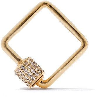 As 29 18kt Yellow Gold Pave Diamond Small Square Carabiner