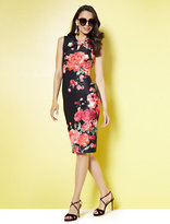 New York & Co. Keyhole Sheath Dress - Black - Floral