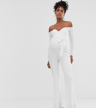Queen Bee Maternity wrap front bardot jumpsuit with belt in white