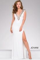 Jovani V Neck Beaded High Slit Prom Dress 31039