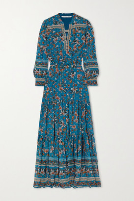 Veronica Beard Sama Tiered Floral-print Fil Coupe Silk-blend Georgette Maxi Dress - Blue