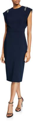 Theia Jewel-Neck Cap-Sleeve Sheath Dress with Embellished Shoulders