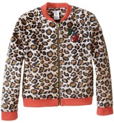 Little Marc Jacobs Resort - Faux Fur Leopard Jacket with Cherry Patch Girl's Coat
