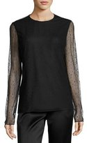 Jason Wu Raindrop Long-Sleeve Top, Black