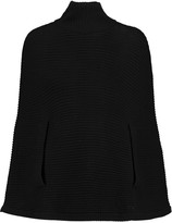 Halston Ribbed-knit wool poncho