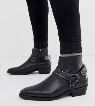 Asos DESIGN Wide Fit stacked heel western chelsea boots in black leather with studding and hardware detail